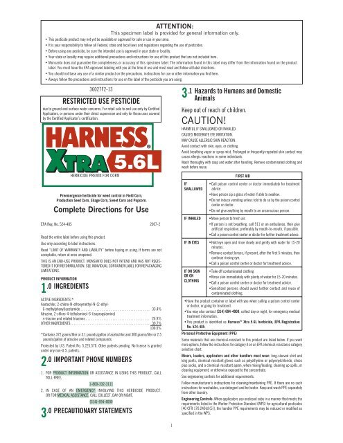 Harness Xtra Label : harness, label, Harness, Label, Monsanto