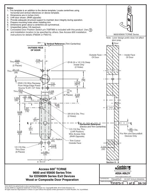 Manufacturer's Template for Access 600 RNE1 Exit Device