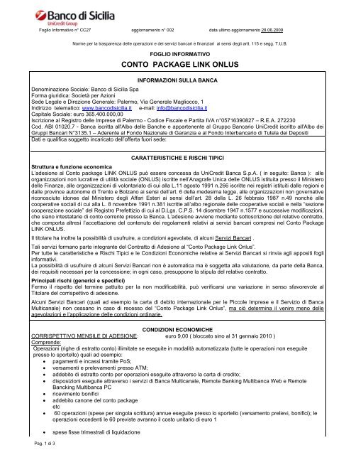 Conto Package Link Onlus Unicredit