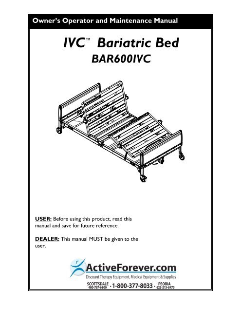 Invacare Bariatric Electric Hospital Bed User Manual