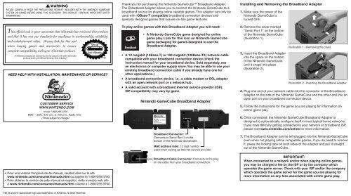 Broadband WARNING Nintendo Gamecube Broadband Adapter