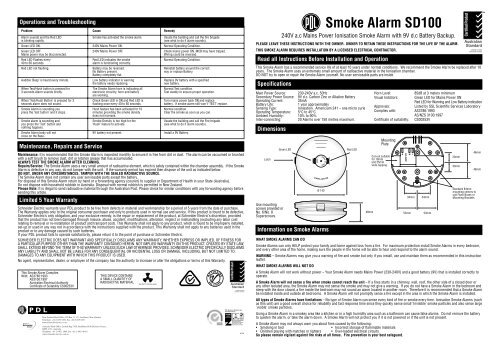 sd100 smoke alarm sheet  pdl