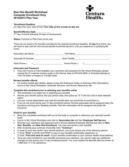Myvirtualworkplace Centura : myvirtualworkplace, centura, Benefit, Worksheet, Centura, Health