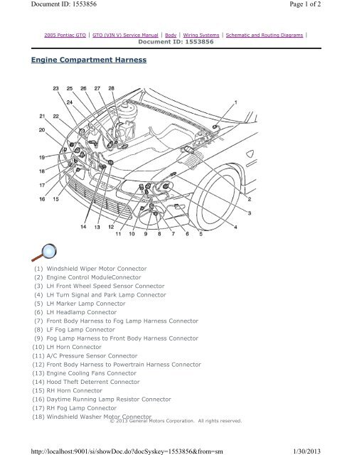 Engine Compartment Harness Page 1 of 2 Document ID