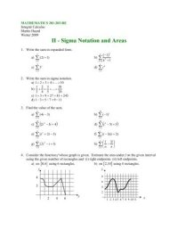 Worksheet 4.6 Sigma Notation