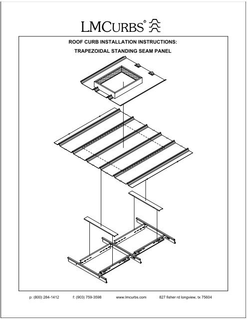 roof curb installation instructions trapezoidal standing