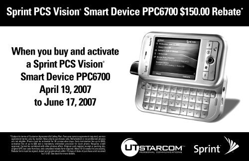 Sprint PCS Vision® Smart Device PPC6700 $150.00 Rebate*