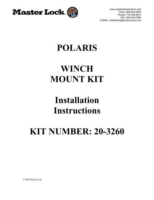 POLARIS WINCH MOUNT KIT Installation Instructions KIT
