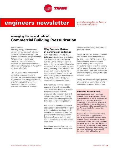 trane engineers newsletter vol 31 2