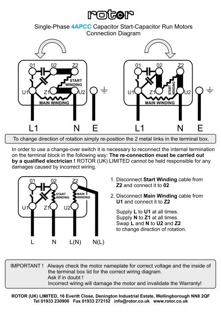 singlephase cap startcap run motors  rotor uk