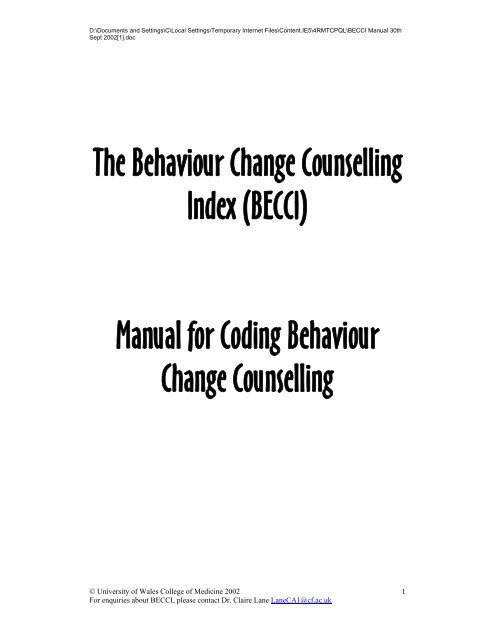 The Behaviour Change Counselling Index (BECCI) Manual for