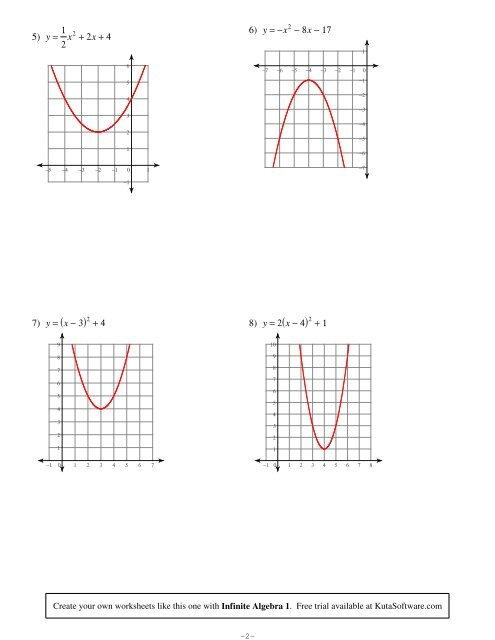 Graphing Quadratic Functions Worksheet Answers Kuta
