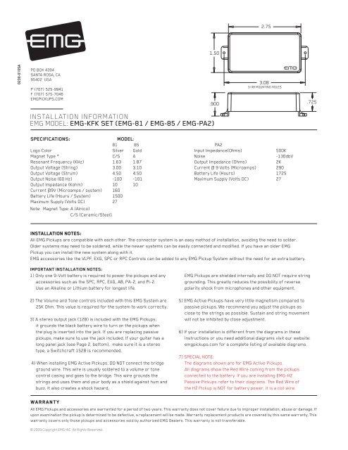 emg pa2 wiring diagram intermediate light switch installation information model kfk set music station