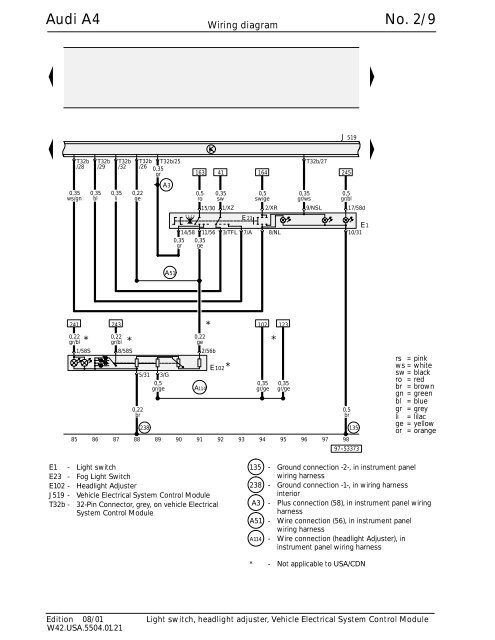 Audi A4 Headlight Switch Wiring Diagram