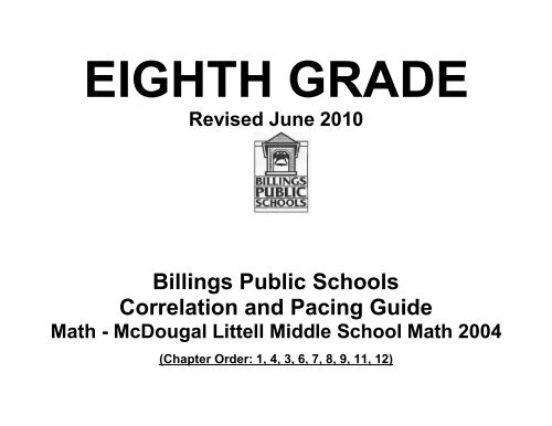 Billings Public Schools Correlation and Pacing Guide