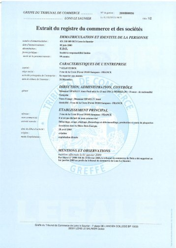 IMMATRICULATION PRINCIPALE AU REGISTRE DU COMMERCE