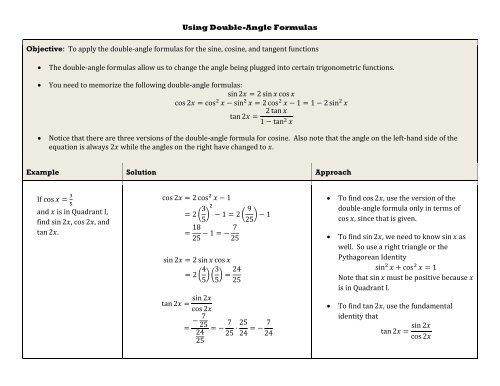 Trigonometric Sin2x Formula