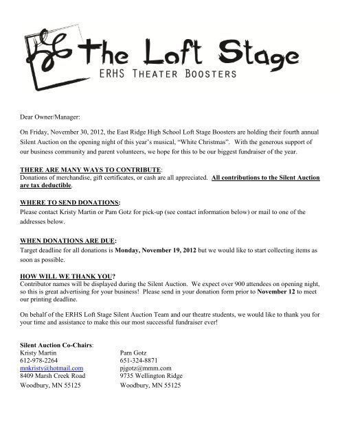 White Christmas Silent Auction business letter  The Loft Stage