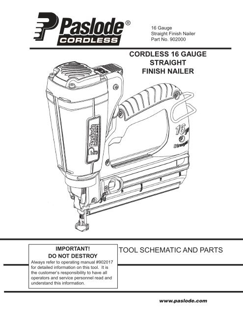 tool schematic and parts cordless 16 gauge straight finish