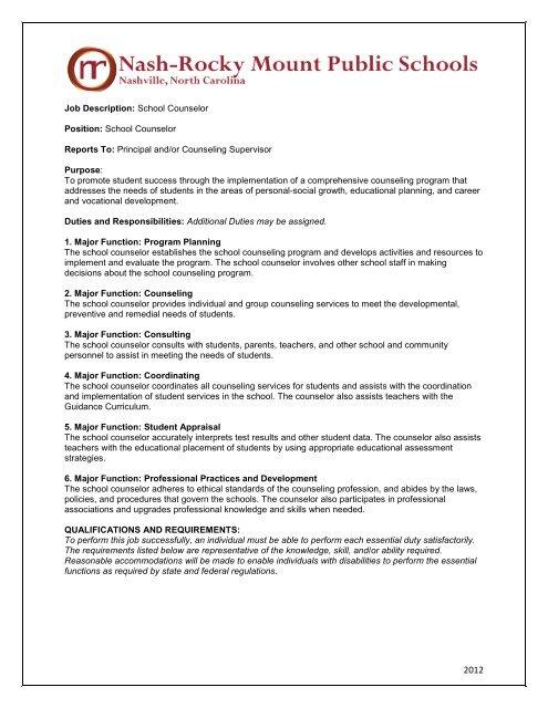 School Counselor Job Description   brandforesight co