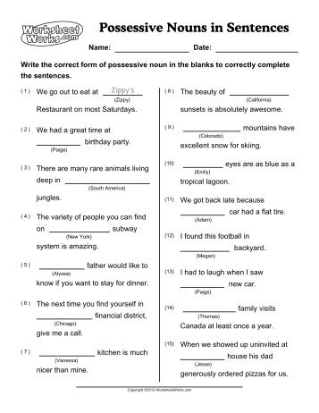 All Worksheets  Possessive Noun Worksheets