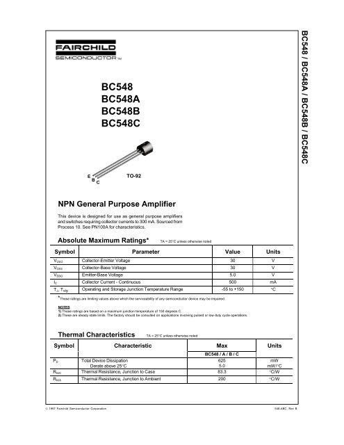Datasheet Transistor Bc548 B