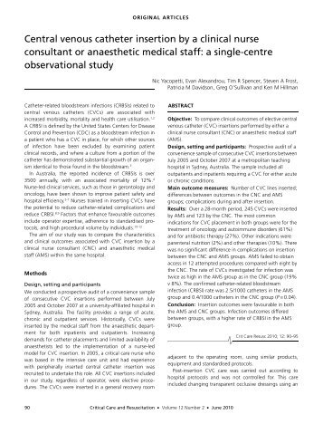 Antimicrobial central venous catheters in adults  UBC Critical Care