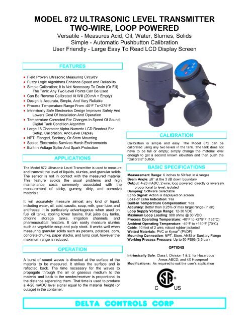 4 wire ultrasonic level transmitter suzuki rv 50 wiring diagram model 872 two loop powered