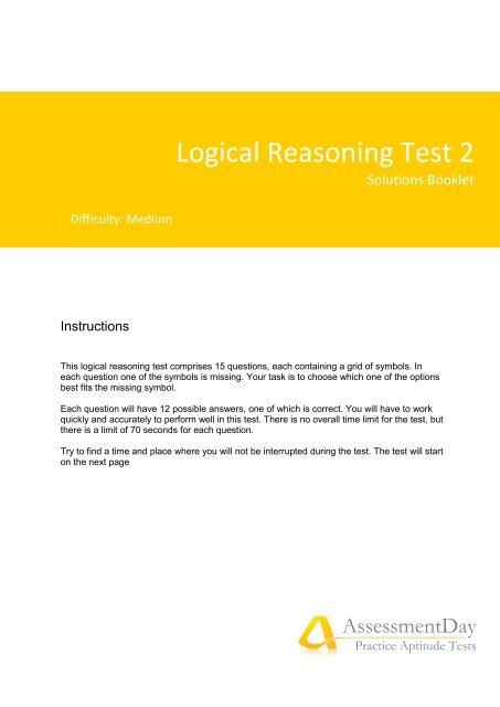 Logical Reasoning Solutions PDF - Aptitude Test