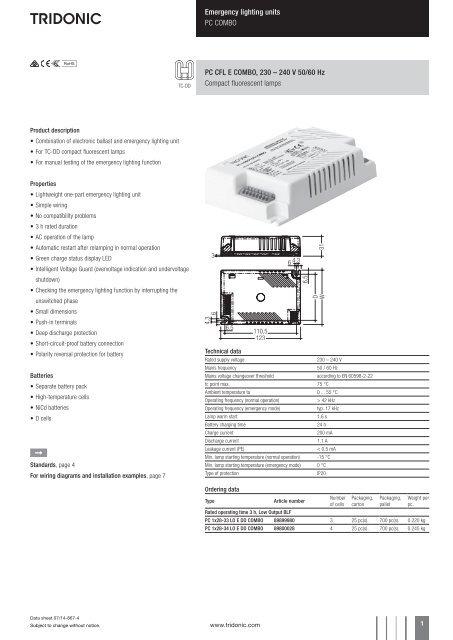 tridonic emergency ballast wiring diagram 91 240sx ignition lighting units pc combo cfl e