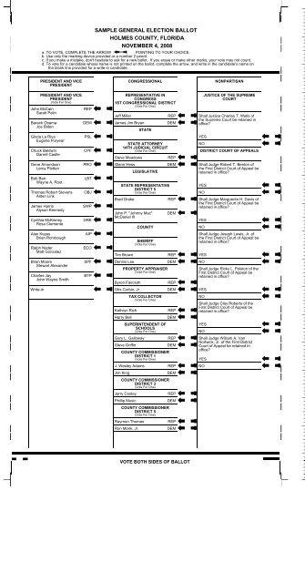 sample general election ballot holmes county, florida