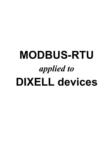 MODBUS-RTU DIXELL devices