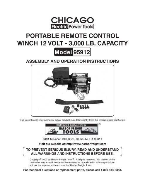 portable remote control winch 12 volt - harbor freight tools