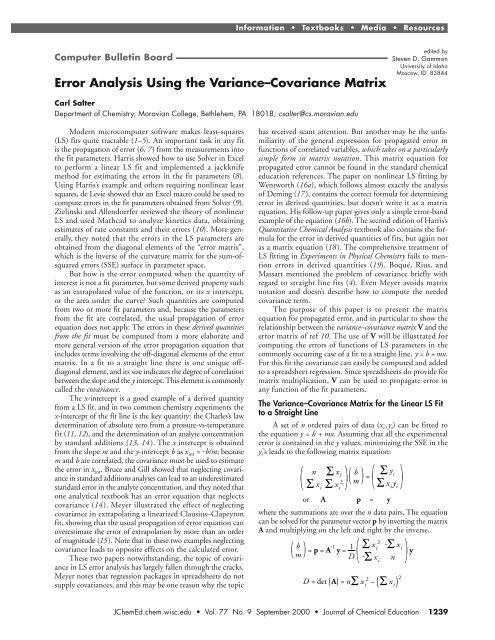 Error Analysis Using the Variance–Covariance Matrix