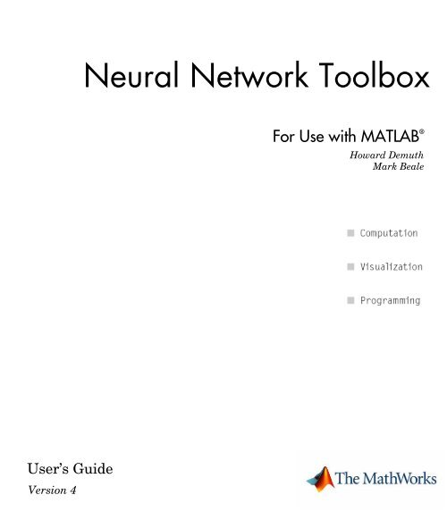 Neural Network Toolbox User's Guide