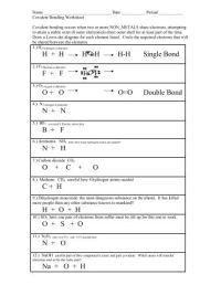 Covalent Bonding Worksheet - Colina Middle School