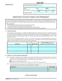 Verification Worksheet Family and Tax - Mapping Your Future