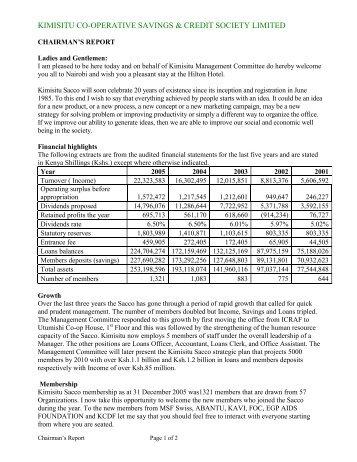 Sacco Chairman Report 2018