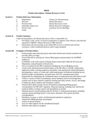 JOB DESCRIPTION Recovery Clerk Directorate and SectionUnit