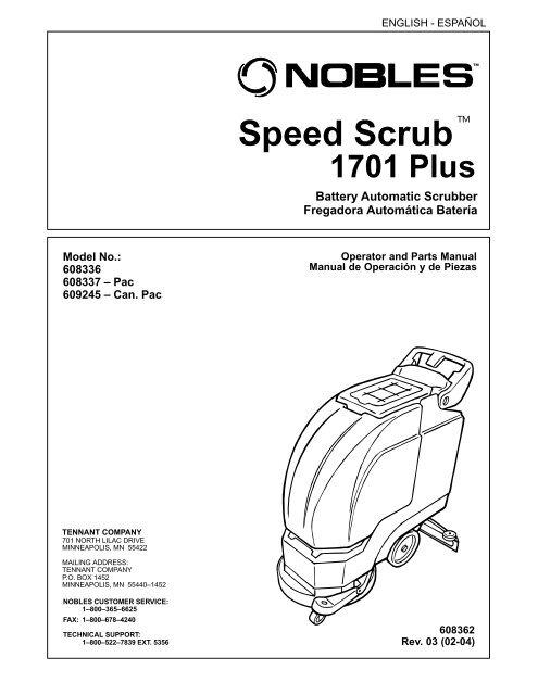 Nobles 1701 Plus Scrubber operator-parts manual