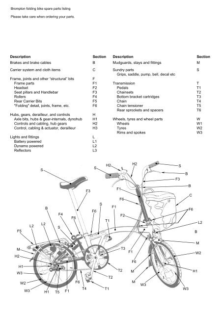 brompton spares and extras price list, us trade