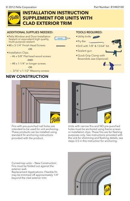 Exterior Door Frame Construction Details : exterior, frame, construction, details, Installation, Instruction, Supplement, Units, Pella.com