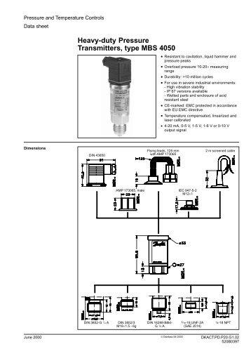 danfoss pressure transmitter mbs 3000 wiring diagram weg 12 lead motor data sheet pressu heavy duty transmitters type 4050