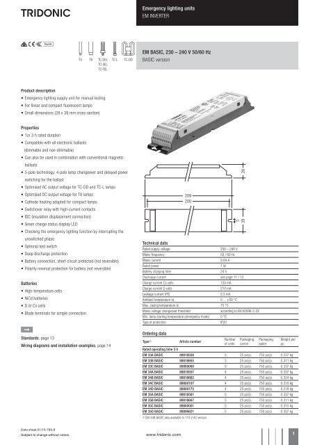 Emergency lighting units EM INVERTER EM BASIC, 230
