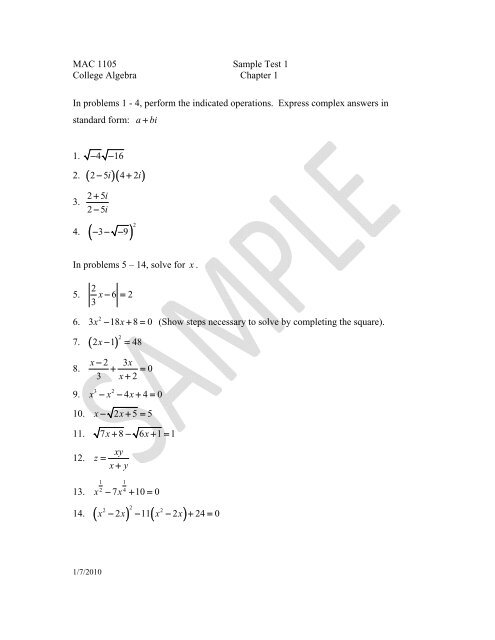 MAC 1105 Sample Test 1 College Algebra Chapter 1 In