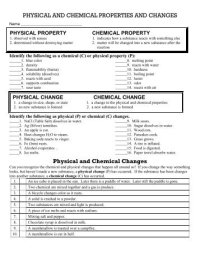 Physical and Chemical Properties and Changes Worksheet 2 ...