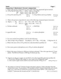 Finding Mass and Volume from the Density Formula Worksheet #2