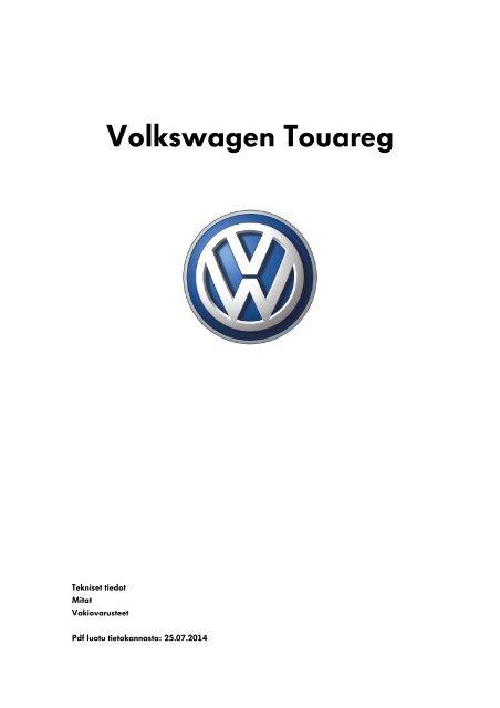 Volkswagen Touareg tekniset tiedot, mitat ja varusteet