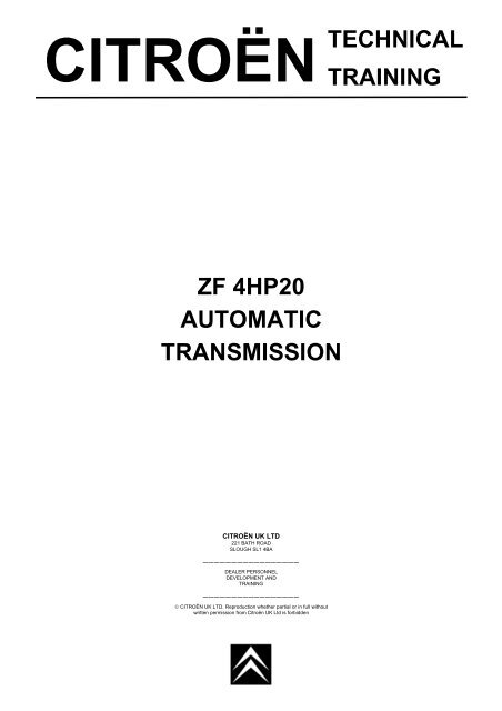 citroën technical training zf 4hp20 automatic transmission