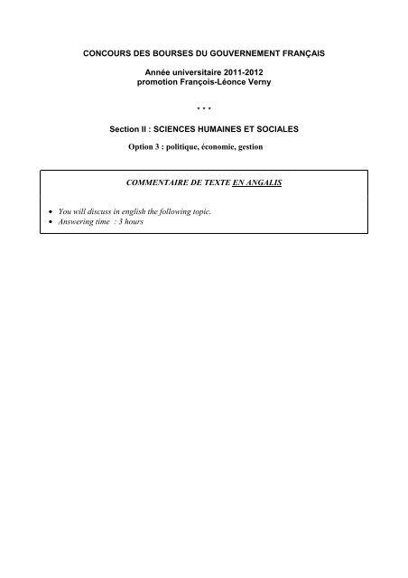 Commentaire De Texte En Anglais : commentaire, texte, anglais, Sujet2011-II, Commentaire, Texte, Anglais